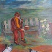 Grandpa With Pigeons Art Print