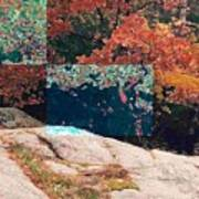 Granite Outcrop And Fall Leaves Aep2 Art Print