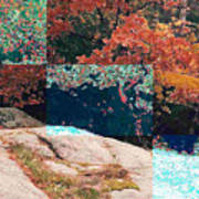 Granite Outcrop And Fall Leaves Aep3 Art Print