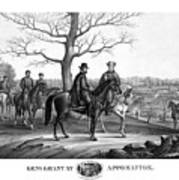 Grant And Lee At Appomattox Art Print by War Is Hell Store