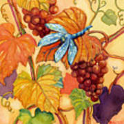 Grapes And Dragonfly Art Print