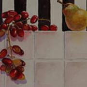 Grapes And Pear Art Print