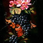 Grapes With Wild Roses Art Print