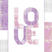 Graphic Art Gold Love - Rose And Violet Art Print