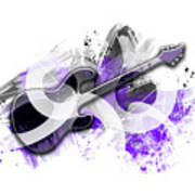 Graphic Art Guitar - Purple Art Print