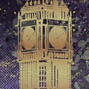 Graphic Art London Big Ben - Ultraviolet And Golden Art Print