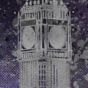 Graphic Art London Big Ben - Ultraviolet And Silver Art Print