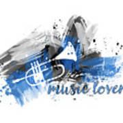 Graphic Art Music Lover - Blue Art Print
