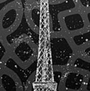Graphic Art Paris Eiffel Tower - Silver And Grey Art Print
