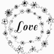 Graphic Black And White Flower Ring Of Love Art Print