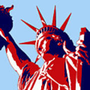 Graphic Statue Of Liberty Red White Blue Art Print