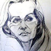 Graphite Portrait Sketch Of A Woman With Glasses Art Print
