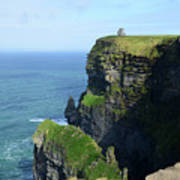 Grass Growing Along The Cliff's Of Moher In Ireland Art Print