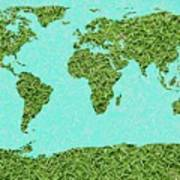 Grass World Map Art Print