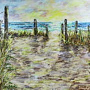 Grassy Beach Post Morning 2 Art Print