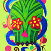 Grassy Skull Transparent Art Print