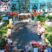 Grave Site At Graceland The Home Of Elvis Presley, Memphis, Tennessee Art Print