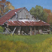 Gray Farm Building Art Print