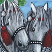 Gray Horses Print by Anna Folkartanna Maciejewska-Dyba