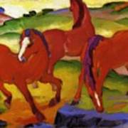 Grazing Horses Iv The Red Horses 1911 Art Print
