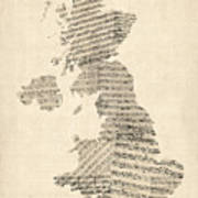 Great Britain Uk Old Sheet Music Map Art Print