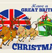 Great British Christmas Santa Reindeer Doube Decker Bus Art Print