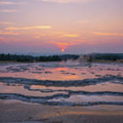 Great Fountain Geyser Sunset Reflections Art Print