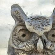 Great Horned Owl Pencil Art Print