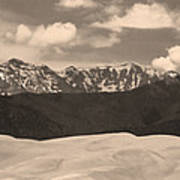 Great Sand Dunes Panorama 1 Sepia Art Print
