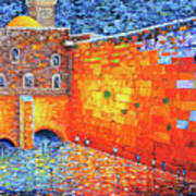 Wailing Wall Greatness In The Evening Jerusalem Palette Knife Painting Art Print