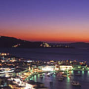 Greece Mykonos Harbor. Dusk Art Print