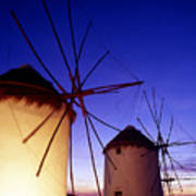 Greece. Mykonos Town. Illuminated Windmills At Dusk. Art Print