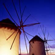 Greece. Mykonos Town. Illuminated Windmills At Dusk. Art Print