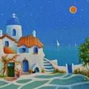 Greek Blue Santorini A Greek Fairytale Art Print