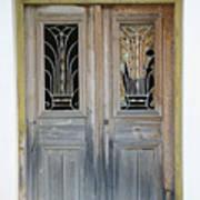 Greek Door With Wrought Iron Window Art Print