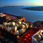 Greek Food At Santorini Art Print by David Smith