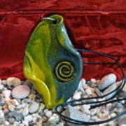 Green And Yellow Spiral Pendant Print by Chara Giakoumaki
