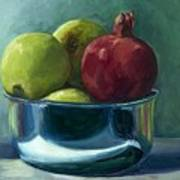Green Apples And A Pomegranate Art Print