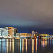 Green Bay Wisconsin City Skyline At Night Art Print