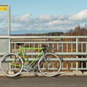 Green Bicycle On Bridge Art Print