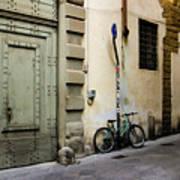 Green Bike And Door Art Print
