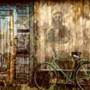 Green Bike Crooked Door Art Print