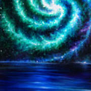 Green-blue Galaxy And Ocean. Planet Dzekhtsaghee Art Print