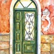 Green Door In Venice Italy Art Print