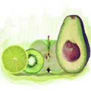 Green Fruits Watercolor Art Print