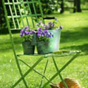 Green Garden Chair Art Print by Sandra Cunningham