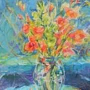Green Glads Coral Glads Art Print