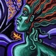 Green Goddess With Butterfly Art Print