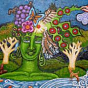 Green Goddesswith Waterfall2 Art Print