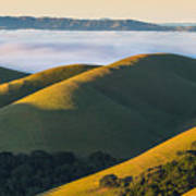 Green Hills And Low Clouds Art Print